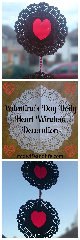 Valentine's Day Doily Heart Window Decoration