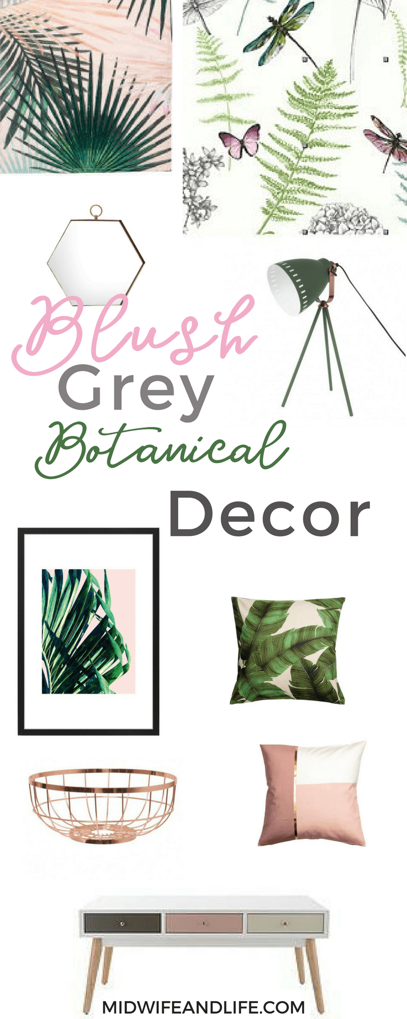 If you're looking for Inspiration and a shopping list for a grey-green-blush-copper-botanical themed dining room. From prints to mugs it's all here