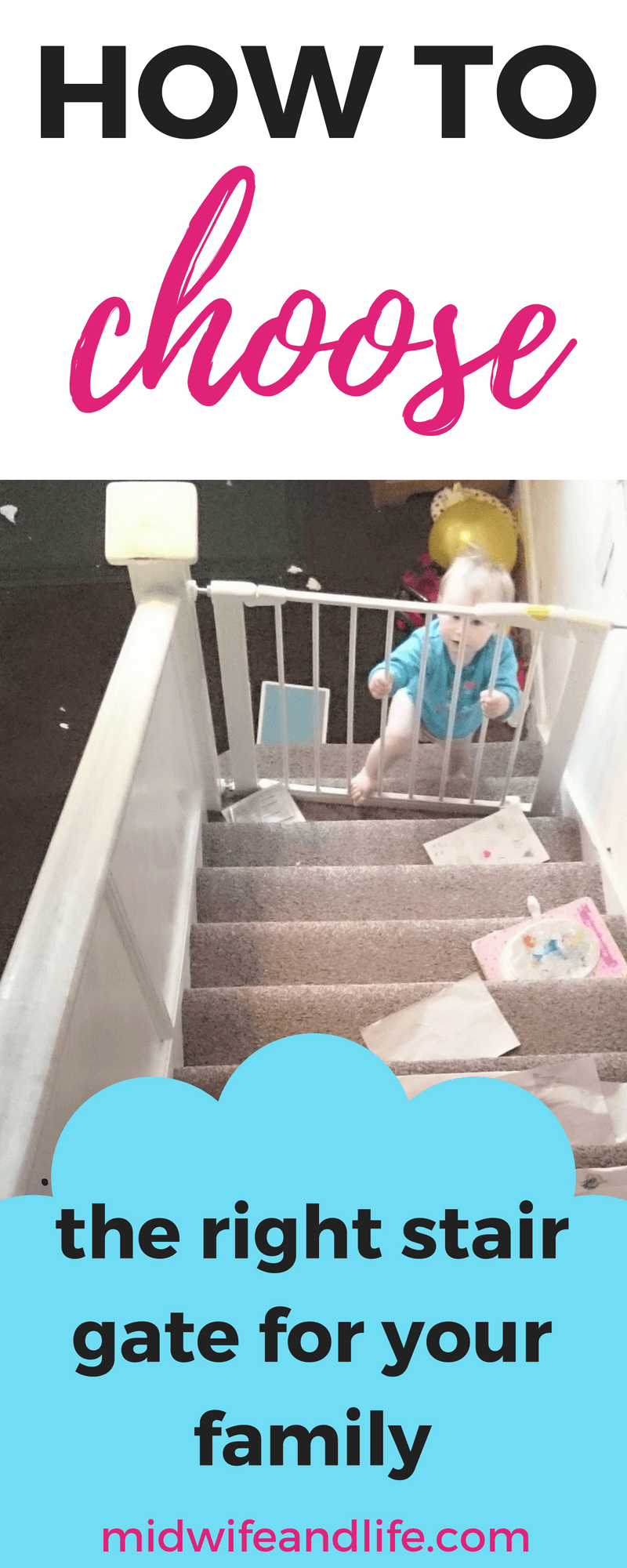 Are you at the baby gate stage? When baby starts moving they head straight for the stairs! This baby stair gate guide will help you find the best gate for your home and family. #babygate #stairgate #onthemove
