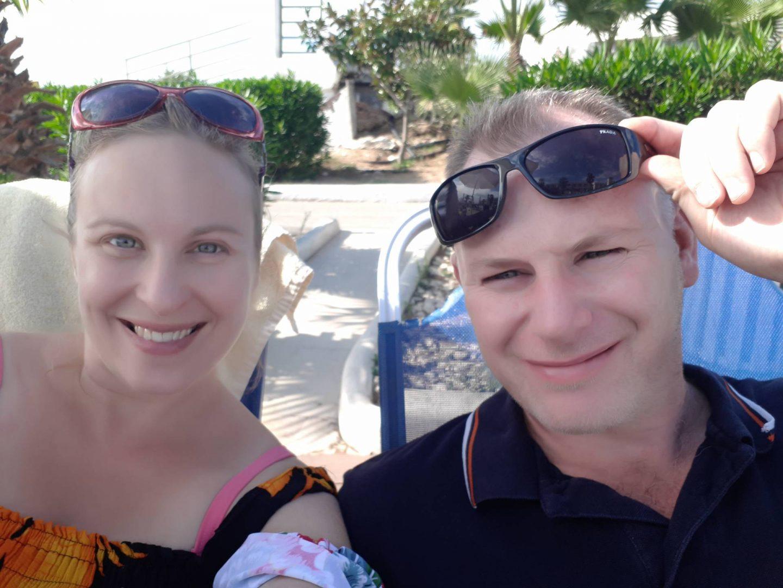 couple enjoying the sun in corfu