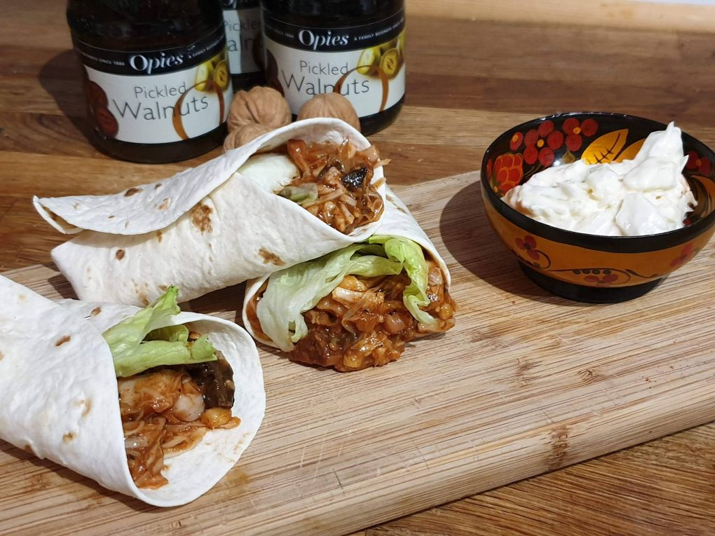 wraps with coleslaw and pickled walnuts